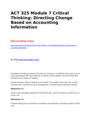 ACT 325 Module 7 Critical Thinking  Directing Change Based on Accounting Information.doc
