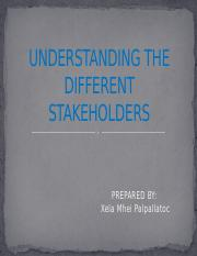 UNDERSTANDING THE DIFFERENT STAKEHOLDERS PALPALLATOC