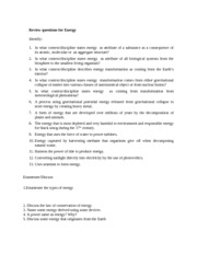 Review questions for Energy
