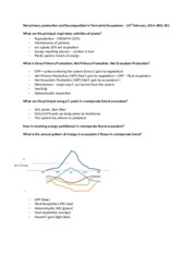 Lecture 14 - Net primary production and Decomposition - student handout