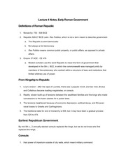 Lecture 4 Notes, Early Roman Government