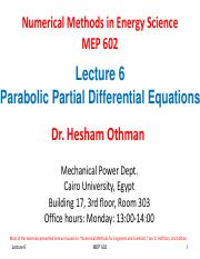 Lecture 6 Parabolic PDE