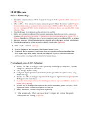 Study Guide OBJECTIVES for Ch 20, revised Spring 2016