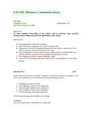 Business Communication - ENG301 Fall 2008 Assignment 04.doc