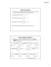 Lesson 5b - Identity Matrices  Nonsingular Matrix
