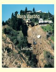 Lecture 28 F 2014 -Mass Wasting& beaches