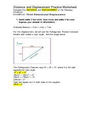 Distance Amp Displacement Practice Problem Worksheet 8 Problems