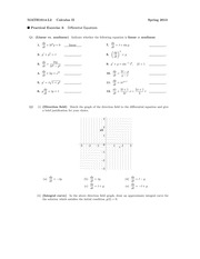 Practical Exercise 3  Differential Equations