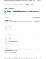 Lesson 9- Medical Contracts, Ethics, and HIPAA, Exam 9.pdf