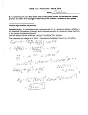 Final Exam Spring 2014 Solution on Honors General Chemistry