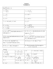 worksheet3 - Calculus 1 Worksheet #5 Limits involving approaching ...