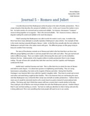 Journal 5 – Romeo and Juliet