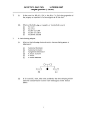 BIO f325 Summer 2007 - Sample questions - I Exam
