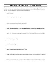 Ethics and Technology - Review Sheet.docx
