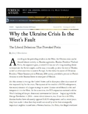 Mearsheimer, J., 'Why the Ukraine Crisis is the West's Fault'