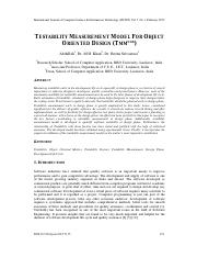Testability Measurement Model for Object Oriented Design (TMMOOD)