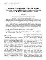 A Comparative Analysis of Production Sharing Contracts of Selected Developing Countries: Nigeria, In