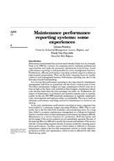 Maintenance performance reporting_systems some experiences