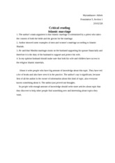 Copy of Critical reading islamic marriage