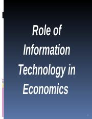 Topic 8 - Role of IT in economics