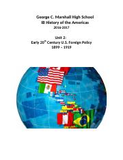 HOA (1617) Unit 2 Early 20th Century US Foreign Policy