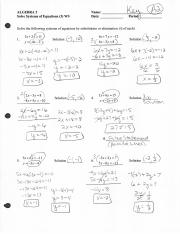 Solve Systems of Equations (3) WS