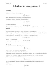 MTHE 237 Fall 2014 Assignment 1 Solutions
