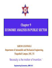 9. Economic analysis in public sector