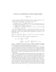 Convergence of the Fourier Series Notes