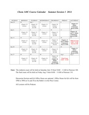 Chem 140C Course Calendar  Summer Session 1 2014(1)