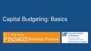 FIN 3403 - Module 9 - Chapter 11 - The Basics of Capital Budgeting - Student