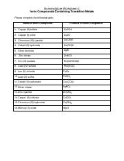 Nomenclature Worksheets Covers All 4 Nomenclature Worksheet 2
