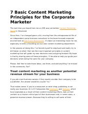 7 Basic Content Marketing Principles for the Corporate Marketer