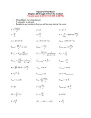 Formula Sheet and Topics for Final Exam