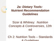 Diet Tools and Daily Required Intakes (DRI)
