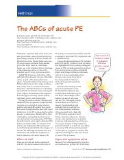 The ABCs of acute PE