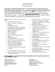 FINAL EXAM STUDY Guide Fall 2015