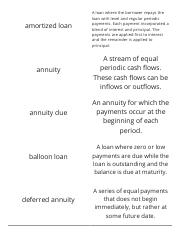 Finance-Chapter 4-Annuities and Loans-Vocabulary Flashcards