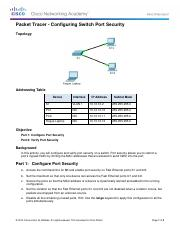 2.2.4.9 Packet Tracer - Configuring Switch Port Security Instructionsz