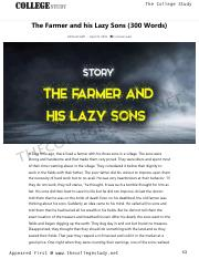 17 The Farmer and his Lazy Sons (300 Words) _ The College