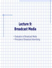 Advertising Lecture 9 - Broadcast Media rev