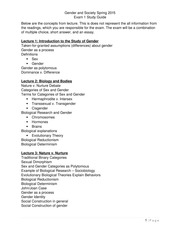 Gender and Society - Study Guide - Exam 1