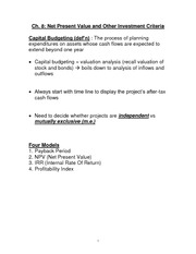 Financial Accounting Lesson 8 class notes  2nd day, Net Present Value and Other Investment Criteria