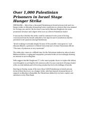 Over 1,000 Palestinian Prisoners in Israel Stage Hunger Strike