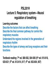 PSL301- Lecture 5 (Respiratory)