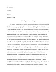 HUMN 214 Paper 1 - Comparing Literature and Songs