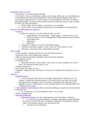 Psych 473D Notes on Recognition and Free recall