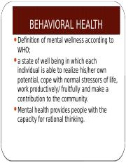 SYNOPSIS OF BEHAVIORAL HEALTH (1)