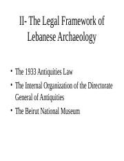 1933 law on Antiquities and DGA - week 2