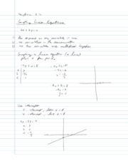 College Algebra Notes - 2.2 - Graphing Linear Equations